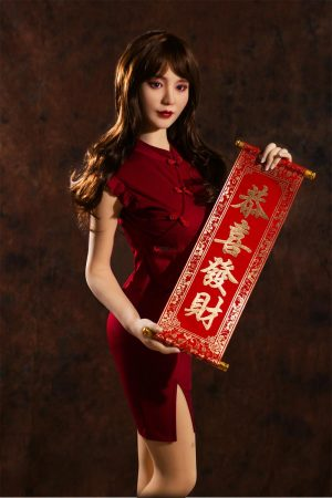 Anika - 158cm real asian sex doll Spring Festival holiday dress